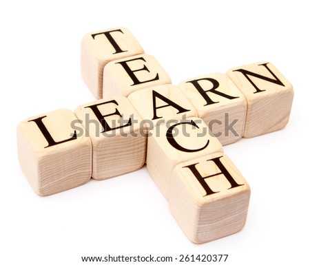 "Building Blocks on White spelling ""teach"" and ""learn"""