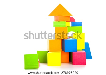 Building blocks toy isolated on the white background - stock photo
