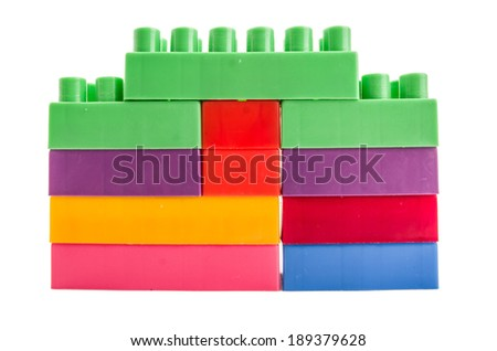 building blocks wall on a white background - stock photo
