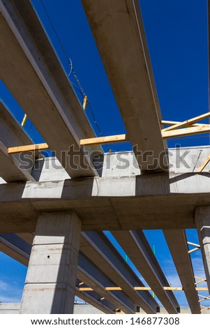 Building Bridges.  Construction Work on a New Highway Overpass. - stock photo