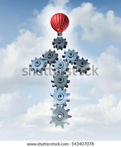 Building business success as a red hot air balloon constructing an arrow in the sky with a group of connected three dimensional gears and cog wheels as a creative concept of network planning. - stock photo