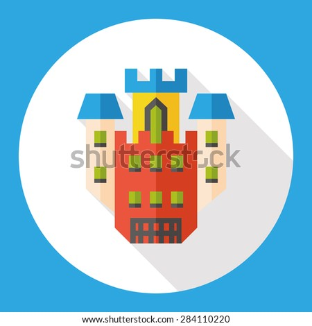 Building castle flat icon with long shadow
