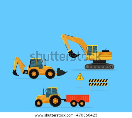 Building conceptual banner. Set of construction machines. Extraction, transport, moving materials illustration for advertise, infographic, web page design. Excavator, loader, tractor with trailer.