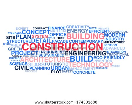 Building construction and civil engineering. Word cloud concept. Raster version - stock photo