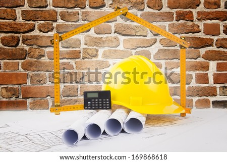 building construction concept with bricks background - stock photo
