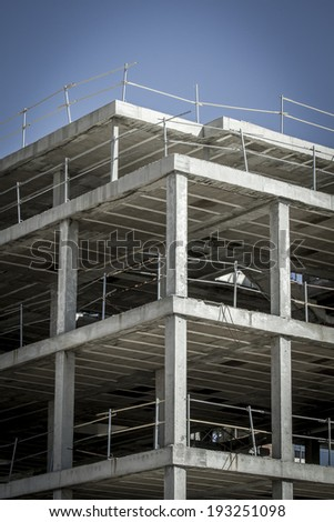 building construction, concrete beams - stock photo