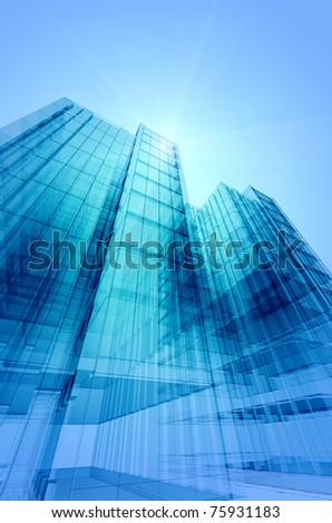 Building construction. 3d architecture project - stock photo