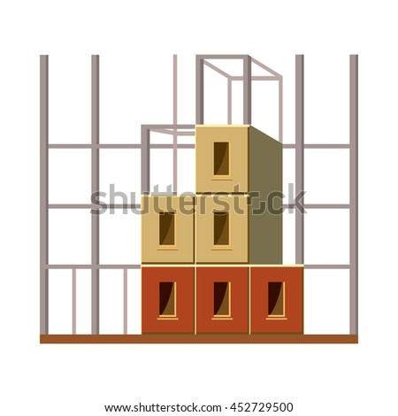 Building construction icon in cartoon style on a white background - stock photo