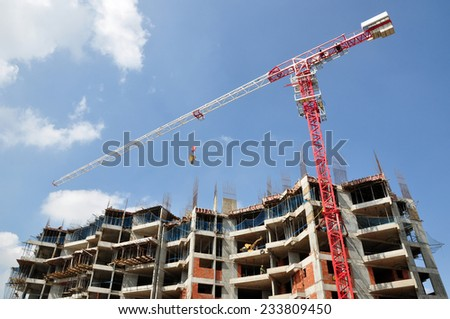 Building construction in Bangalore, India. - stock photo