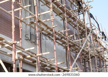 Building construction site background - stock photo