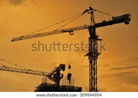 building construction sunset - stock photo