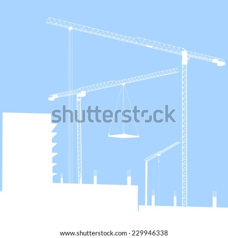 Building construction with crane in the city - stock photo