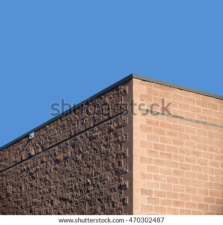 Building corner with blue sky
