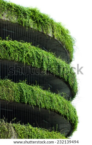 building covered with vegetation - stock photo