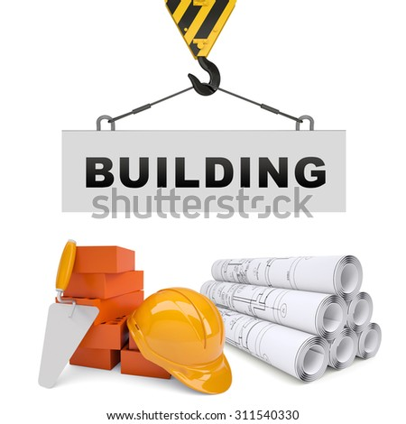 Building crane with building on isolated white background - stock photo