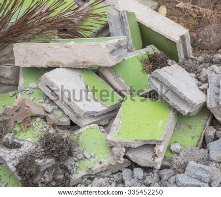 Building debris demolition  - stock photo