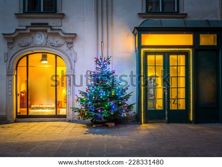 Building decorated for christmas in Vienna - stock photo
