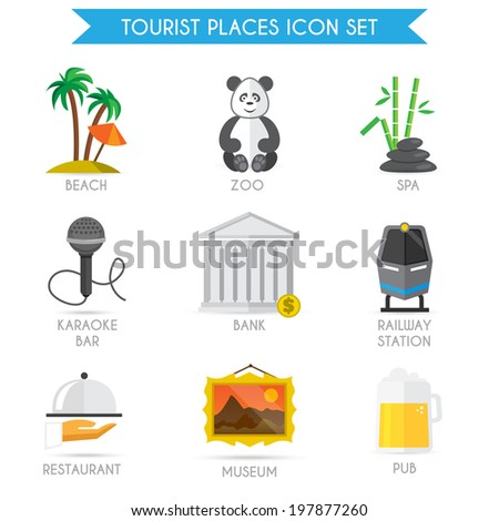 Building decorative tourist places icons set of beach zoo spa isolated  illustration