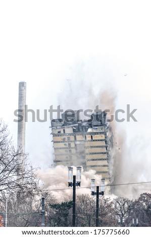 Building demolition by implosion - image 4 - stock photo