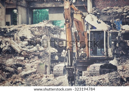 Building demolition debris - stock photo