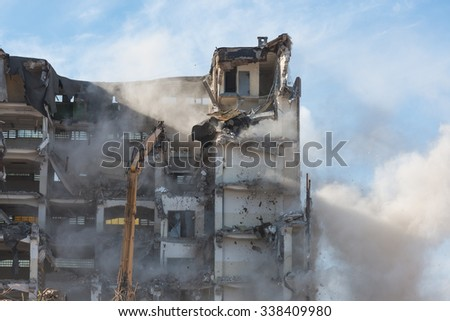 building demolition in Gdynia- Poland - stock photo