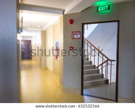 Building Emergency Exit Exit Sign Fire Stock Photo