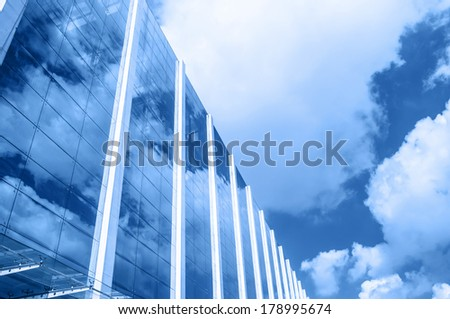 Building exterior wall under the blue sky  - stock photo