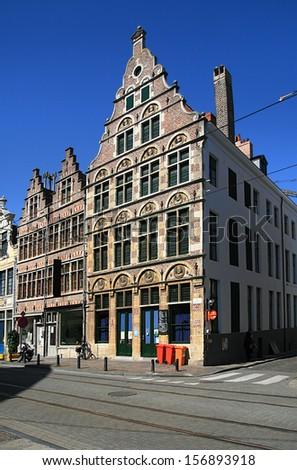 building, facade, Ghent, Belgium, - stock photo