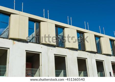 Building facade under construction. - stock photo