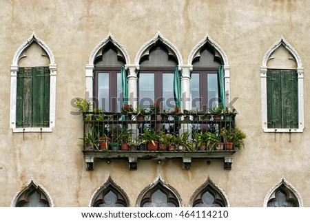 Building facade with windows and plants in Venice, Italy