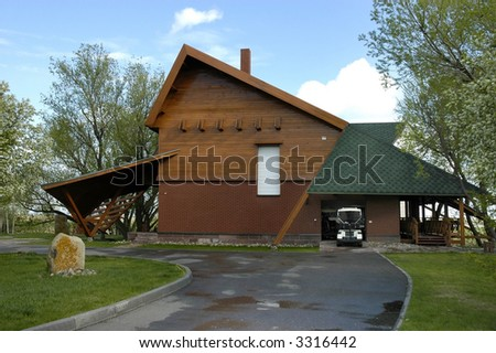 building for keeping golf cars - stock photo
