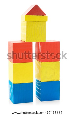 Building from wooden blocks toys isolated on white background - stock photo