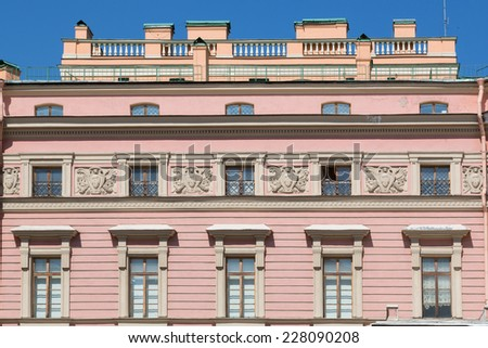 building front wall with repeting pattern of windows. st. petersburg, - stock photo