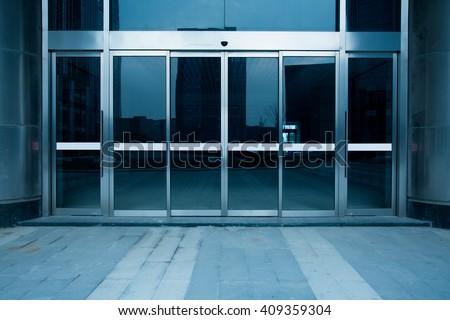 building glass entrance - stock photo