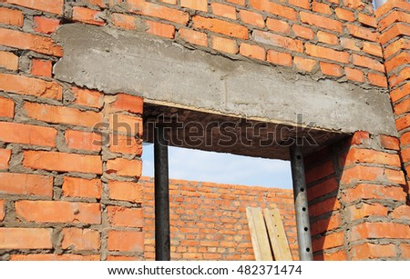 Window door concrete lintel with iron bar on brick unfinished house & Lintel Stock Images Royalty-Free Images u0026 Vectors | Shutterstock pezcame.com