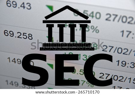 Building icon and inscription SEC. Financial data on background - stock photo