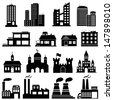 Building Icons Set. Raster version. Vector version is also available. - stock vector