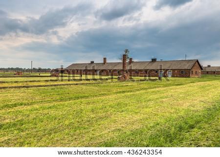 Building in Auschwitz Birkenau Concentration camp, Poland - stock photo
