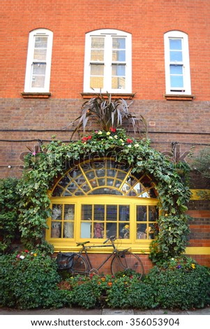 Building in Covent garden decorated with plants - stock photo