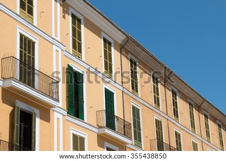 Building in Old Town Palma de Mallorca, Majorca, Spain, with window shutter