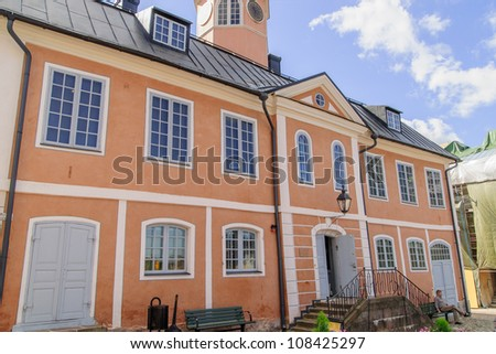 building in picturesque medieval old town of Porvoo, second oldest town in Finland.