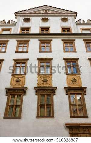 Building in Prague with decoration on facade