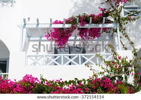 Building in traditional Greek style, Santorini island, Greece - stock photo