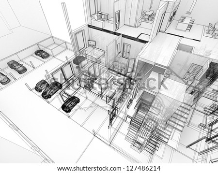 Building in x-ray view, with visible construction and rooms - stock photo