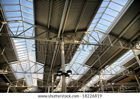 Building Interior with Multiple Skylights(Release Information: Editorial Use Only. Use of this image in advertising or for promotional purposes is prohibited.) - stock photo