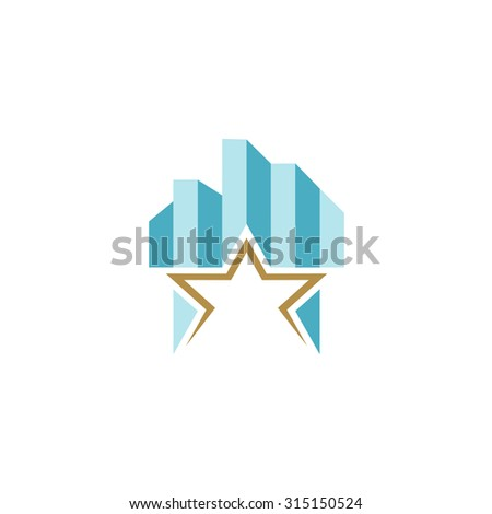 Building logo with skyscrapers and star as a base. - stock photo