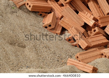 Building materials, hollow brick and sand
