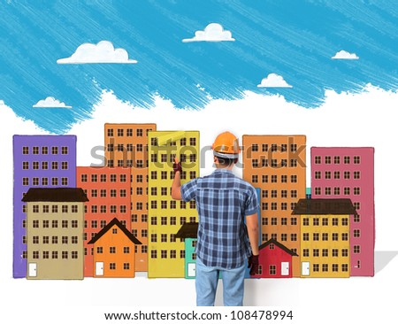 Building, Men painting and paint brush - stock photo