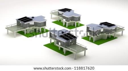 building models, panel energy - stock photo