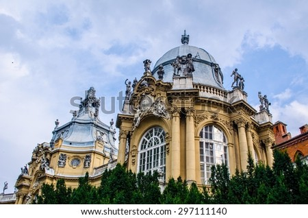 building of agricultural museum inside complex of vajdahunyad castle inside vartosliget orchard in center of budapest. - stock photo